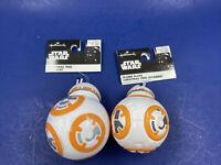 Star Wars BB8 Chriatmas Ornament Lot Of 2 Blown Glass Plastic Jedi Force Awakens