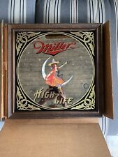 Vintage 1979 MILLER HIGH LIFE Girl on Moon MIRROR Bar Pub Sign Witch Hat 14 x 14