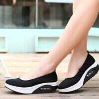 Lady Womens Breathable Platform Walking Athletic Gym Slip-On Sneakers Shoes Size