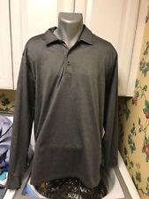 Walter Hagen Hydro Dri Men's Ls Golf Polo Shirt L Poly Spandex Charcoal Gray