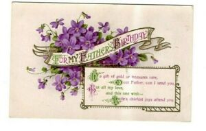 OLD POSTCARD - GREETINGS - For my father's Birthday  - Valentine's 1916