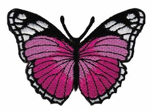 Bg79 Butterfly Pink Butterfly Children Sew-On Application Patch Butterfly