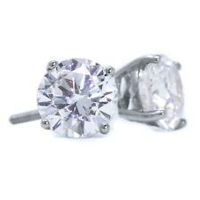 3 Ct Round Cut Stud Diamond Earrings in Solid 14k White Gold Screw Back Studs