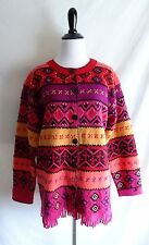 Susan Bristol Wool Hand Embroidered Fringe Trim Aztec Blanket Sweater Jacket