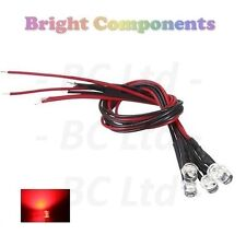 5 x Pre-Wired Red LED 5mm Flat Top : 9V ~ 12V : 1st CLASS POST