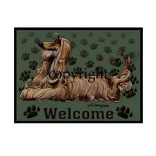 Afghan Dog Breed Paws Cartoon Artist Welcome Doormat Floor Door Mat Rug
