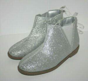 Girls Boots Carter's Carmina Silver Glitter Boots Baby/Toddler Size 12 New NWT