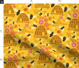 Beehive Happy Bees Gold Flowers Bee Hive Spoonflower Fabric by the Yard