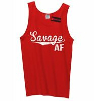 Savage AF Mens Tank Top Funny College Party Gift Sleeveless Tee Z3