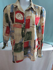 Liz Baker Blouse Top Large All Polyester Beige Rust Blue Red Brown print EPOC
