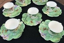 LOT OF SEVEN (7) FLOWER HAVEN BY SPODE PORCELAIN CUPS & SAUCERS