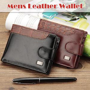 Mens PU Leather Wallet Purse Bifold Credit Card Holder RFID Blocking Anti-Scan