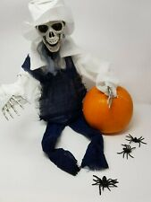 Animated Skeleton Dungarees Head Halloween Hanging Scene Skull Decoration PROP