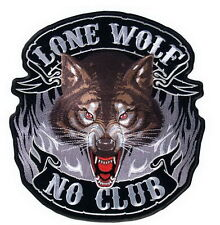 LONE WOLF NO CLUB back patch Embroidered Iron on Biker Patch 5''
