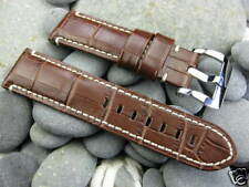 24mm Brown Gator Grain Leather Strap Watch Band PRE-V Buckle Set Pam 1950