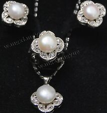 Natural White Akoya Cultured Pearl Earrings + Ring + Necklace Pendant Set AAA