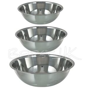 Small / Extra Large Stainless Steel Catering Washing Mixing Bowl Flat Base