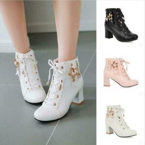 Womens Shoes Ankle Boots Block Mid Heel Ladies Zip Buckle Strap Smart Booties