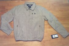 New $60 US POLO ASSN Tan Windbreaker JACKET Zipper Pockets Collared Mens size M