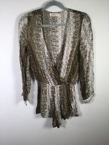 Gingham and heels womens snakeskin print playsuit romper size 8 long sleeve