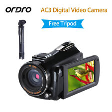 ORDRO AC3 HD 4K Wifi LED Digital Camera Video Record Hot Shoe w/ VCT-520 Tripod