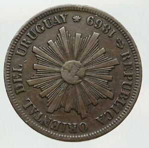 1869 URUGUAY South America Sun & Wreath Antique Genuine 4 Centisimos Coin i92025