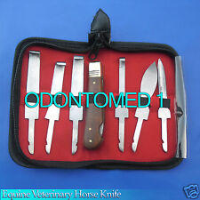 Hoof Knives 6 set Equine Veterinary Horse Knife pouch