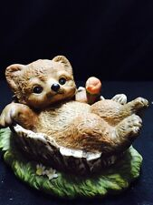 Home Interior Masterpiece Porcelain Bear Cub In Tree Trunk 1986- So Adorable!