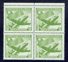 CHILE 1960 AIR MAIL STAMP # 613 MNH BLOCK OF FOUR AIRCRAFT FLAG