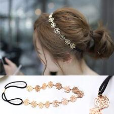 Womens Elegant Metal Chain Jewelry Rose Flower Elastic Headband Hair Accessories