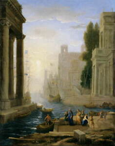 Claude Lorrain Embarkation of St Paula Poster Reproduction Giclee Canvas Print