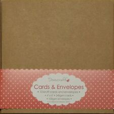 """10 x Square 6"""" Recycled Kraft Card Blanks + Envelopes Natural Brown (Dovecraft)"""