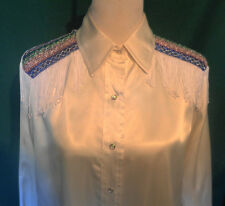 Vintage White Satin Western Shirt Metallic Trim Fringed Caravan Western B46