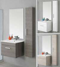 Mobile bagno arredo salvaspazio sospeso da 60 cm con colonna specchio e lavabo