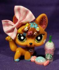 Littlest Pet Shop #2341 Shimmer Shine Fox Orange Flowers Glitter Green Dot Eyes