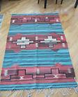 Southwest American Handwoven Wool Rug 4' x 6' Teal & Burgundy - MINT!