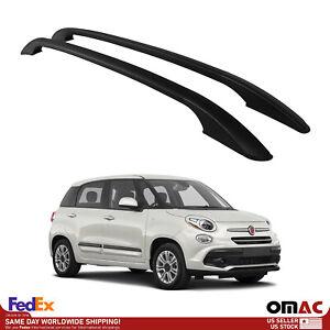 Aluminum Top Roof Rails Luggage Port Rack Bar Black Set Fits Fiat 500L 2014-2020