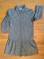 Gap Women's Chambray Blue Denim Peplum Style Button Front Dress-Size X-Small