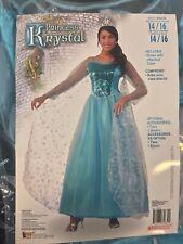 Princess Krystal Ice Snowflake Blue Gown Dress Halloween Adult Large Costume