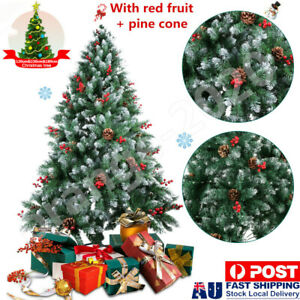 1.2-1.8M Christmas Tree Metal Stand Xmas Traditional Decor Baubles W/Pine Cone