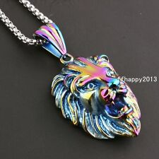 """Mens Fashion New Jewelry Stainless Steel Rainbow Lions Head Pendant Necklace 24"""""""
