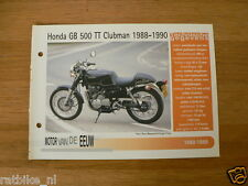 MVE33- HONDA GB500 TT CLUBMAN 1988-90 MINI POSTER AND INFO MOTORCYCLE,MOTORRAD