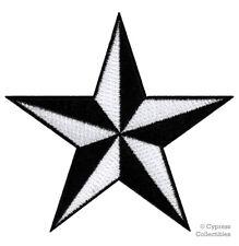 BLACK WHITE NAUTICAL STAR IRON-ON PATCH embroidered NAVY VET TEXAS FLAG EMBLEM