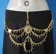 Gypsy Tribal Fusion ats Belly Dance Dancing Accessory Clip on BELT Gold Egyptian