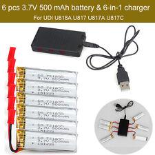6pc 3.7V 500mAh Batterie+JST 6in1 Chargeur Pour UDI U818A U817A U817C Nouveau A2