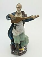 "Large Ceramic Chinese Mudman Mud Man With Lute Sitar Guitar Figurine 9"" High"