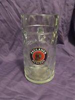 Paulaner Munchen 1 Liter German Beer Stein Mug Dimpled Glass Oktoberfest