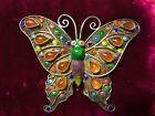 Vintage Chinese Aesthetic Silver Filigree Carnelian & Enamel Butterfly Brooch