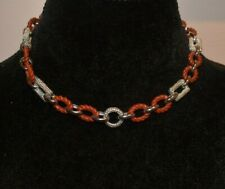 WHITNEY KELLY WK STERLING SILVER AND JASPER LARGE LINK CHAIN NECKLACE