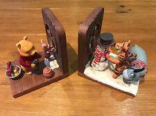 Disney Store Winnie the Pooh Bear, Eeyore, Tigga & Piglet Winter Bookends Resin